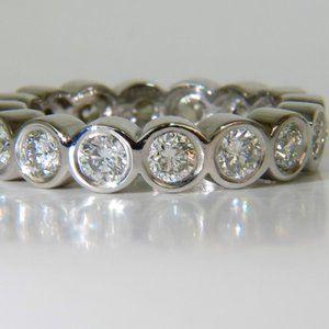 1.85CT DIAMOND ETERNITY BAND GRAND BEZEL FLUSH H/V